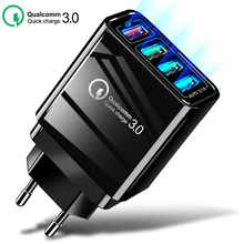 48W USB Quick Charge for iphone 7 8 Mobile Phone Fast Charger Charging Tablet QC 3.0 Fast Wall Charger US EU UK Plug Adapte quick charge 3 0 usb charger travel for iphone samsung micro usb type c fast charging 3 ports eu us plug mobile phone charge