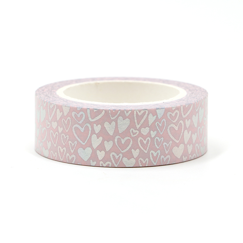 New 1PC Silver Foil Hearts Washi Tape Rice Paper DIY Scrapbooking Adhesive Masking Tape 1.5cm*10m Stationery