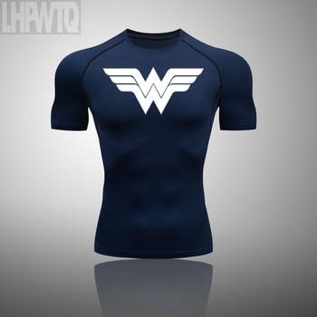Wonder Woman Men's full Suit Compression Sport Suit Gym joggers Running Short sleeve Shirts leggings Basketball sportwear 17