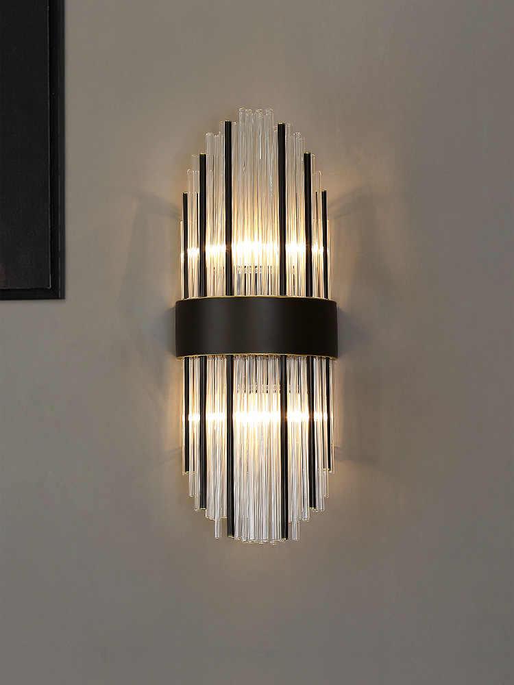 Современная креативная Хрустальная настенная лампа, Золотая Роскошная домашняя прикроватная лампа для гостиной, светодиодная колонка, классическая лампа для коридора, коридора