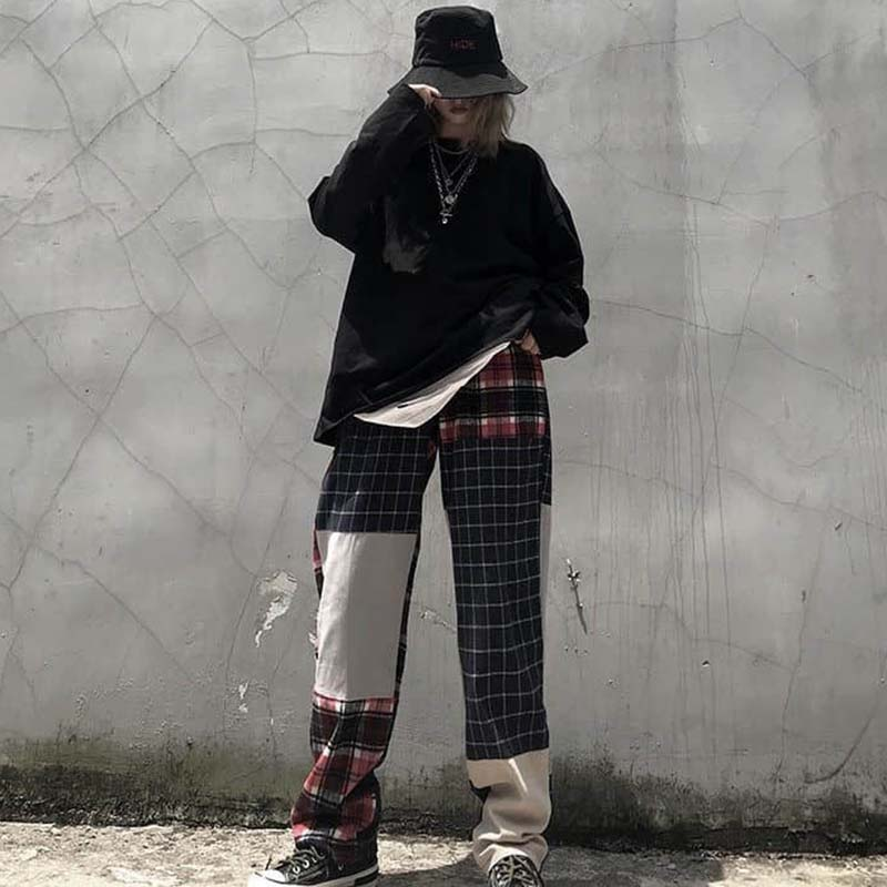 NiceMix Novelty Design Streetwear Plaid Patchwork Pockets Beggar Pants Autumn Loose Full Length Elastic Waist Hip Hop Pants Wome