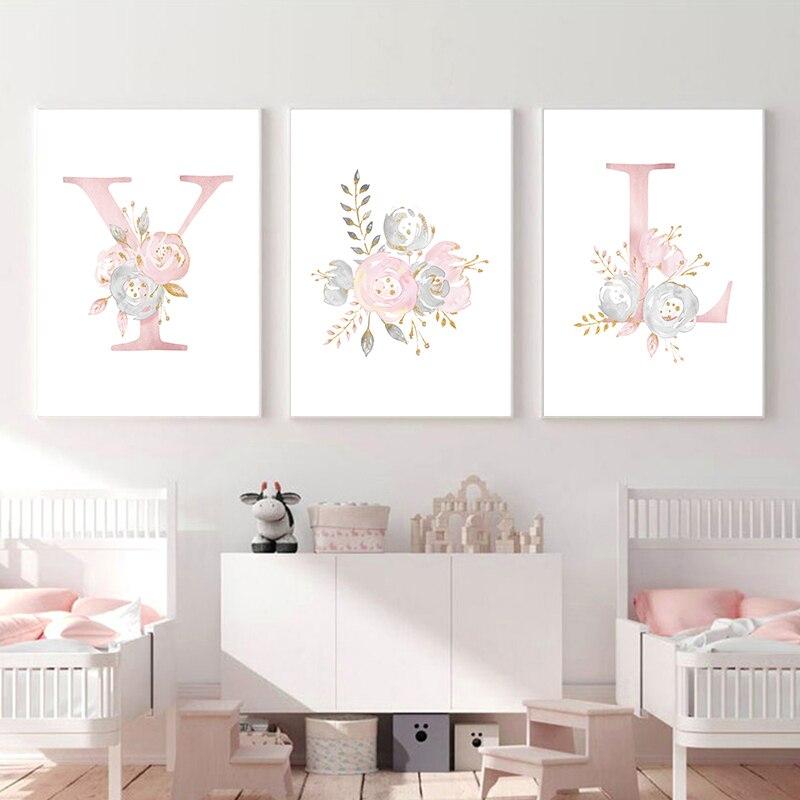 Картина с розовыми цветами для маленькой девочки, холст, плакат для детской стены, современная живопись буквами, настенные картины, Скандинавское украшение для детской спальни