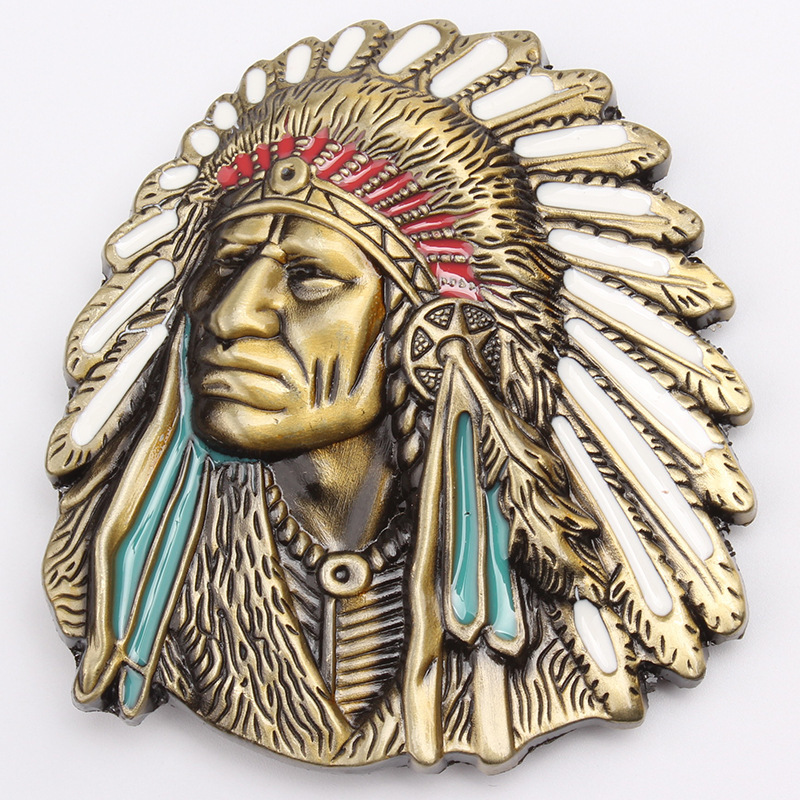 Indian Head Belt Buckle Belt DIY Accessories Western Cowboy Style Smooth Belt Buckle K1