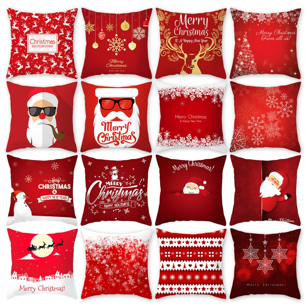 FENGRISE 45x45cm Polyester Peachskin Pillowcase Christmas Decoration For Home Pillow Cover Snowflake Decorative Case