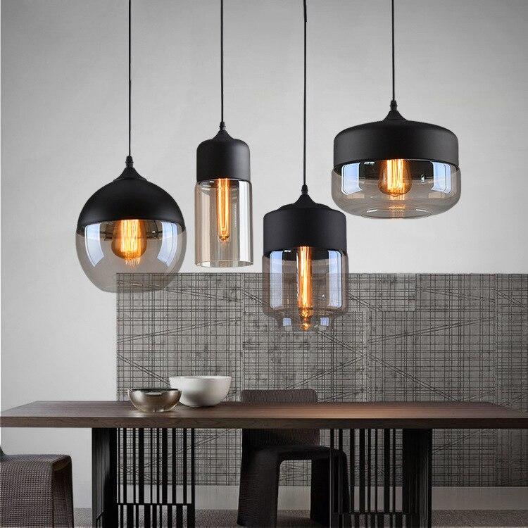 Industrie Loft Hängen Glas Anhänger Licht Eisen + Glas Lampenschirm E27 Moderne Anhänger Lampe Leuchte für Küche Esszimmer Bar