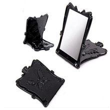 Kobiety przenośny czarny motyl róża kosmetyczny czarny moda kompaktowe lustro elegancki makijaż prezent ekologiczne plastikowe lustro