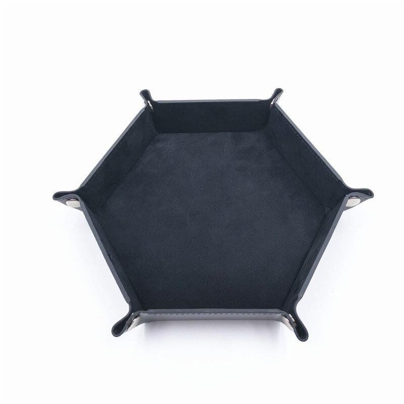 Игральные кости DND лоток dados de rol для хранения 14 цветов шестигранный бархатный тканевый Пинцет дисковый складной ящик для хранения pu лоток Настольный ящик для хранения - Цвет: Черный