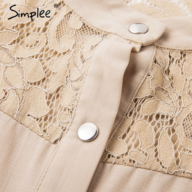 Simplee Elegant lace mesh embroidery women A-line dress Long sleeve button office ladies dresses Solid sashes summer shirt dress 5