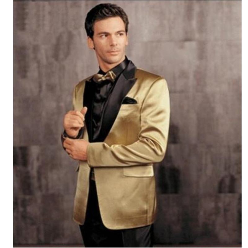 High-quality Classic Men's Suit Yellow Lapel Single-breasted Groom Wedding Dress And Men Prom Dress (jacket + Pants) Custom Made