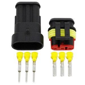 Image 2 - 100 세트 3 핀 AMP 1.5 커넥터 DJ7031 1.5 방수 전기 와이어 커넥터 크세논 램프 커넥터 자동차 자동차 부품