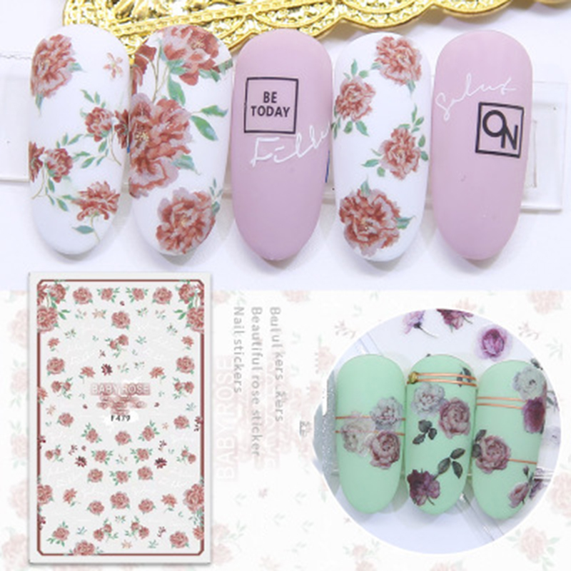 Flower Series Nail Stickers Art Water Transfer Stickers Full Wraps Rose Nail Tips DIY Nail Sticker Manicure Tools