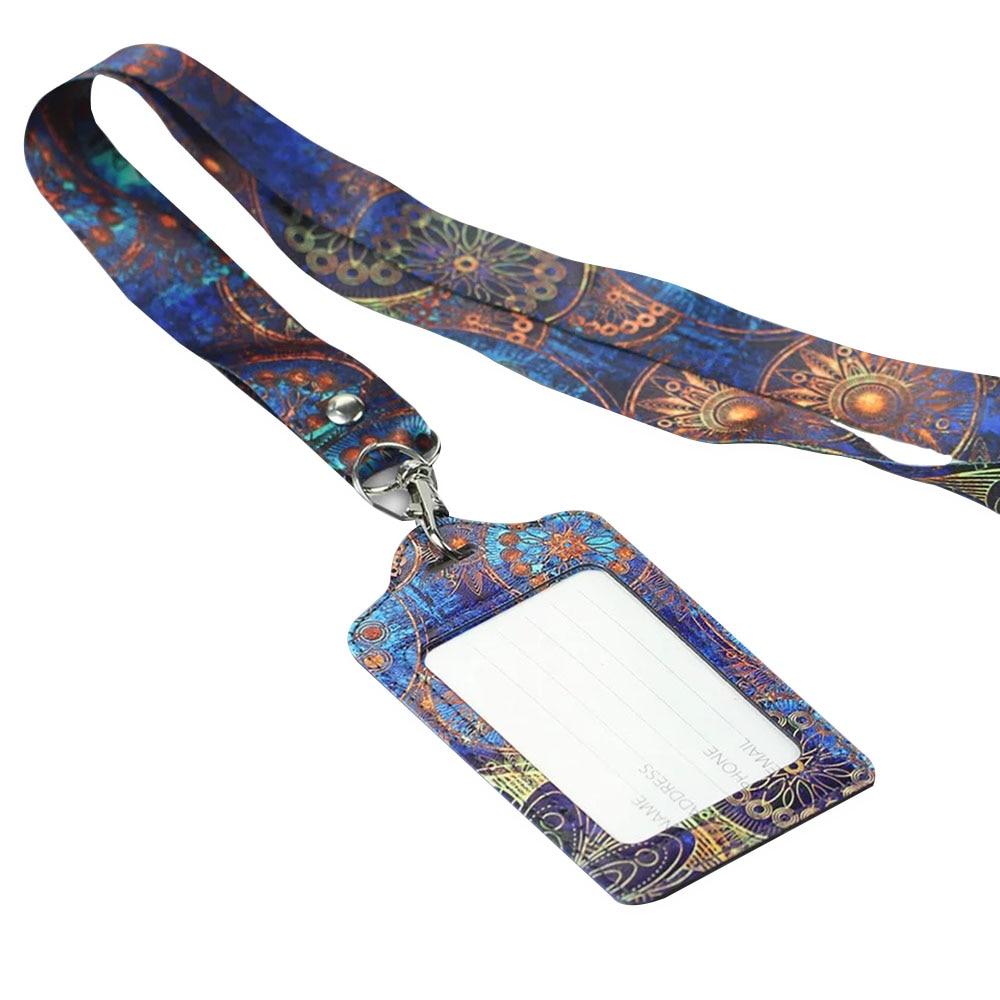 Badge Holder Lanyard Women Men PU Bank Card Neck Strap Card Bus ID Holder Students Kids Identity Badge With Lanyard Badge