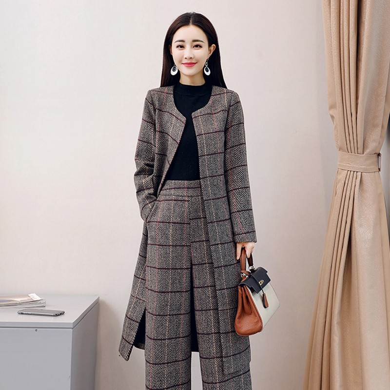 2020 New British Retro Plaid Office Ladies Woolen Blends Outfits Belted Long Outwear Coat Wide Leg Pants Elegant Women Set Suits