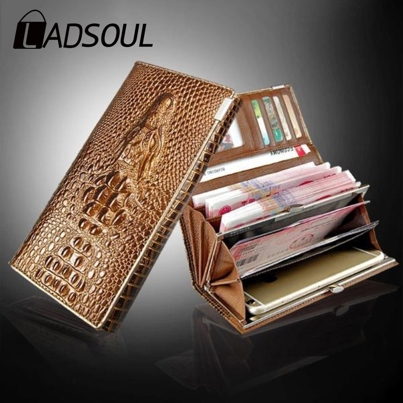 LADSOUL 2019 Fashion Wallet Long Wallet Ladies Wallet Casual Wallet Brand PU 3D Embossed Crocodile Pattern Unisex Wallet
