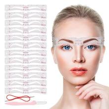 12 estilos/conjunto de estêncil sobrancelha conjunto reutilizável diy olho sobrancelha desenho guia estilo modelar grooming modelo cartão fácil maquiagem