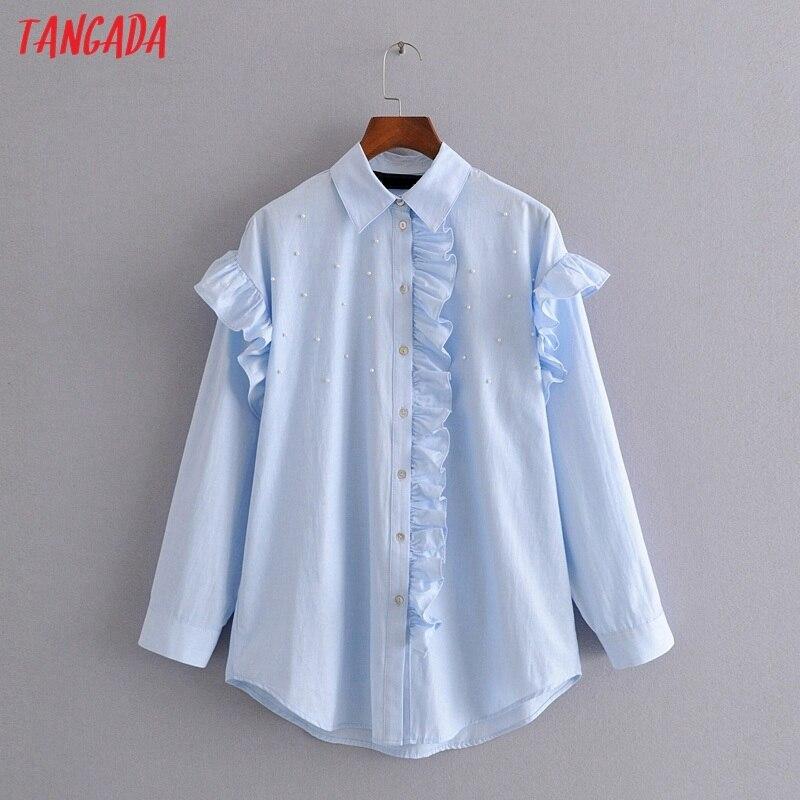Tangada Women Blue Pearl Oversized Blouse Ruffles Long Sleeve Chic Female Casual Loose Shirt Blusas Femininas 3h371