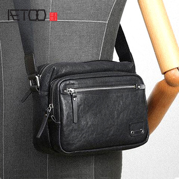 AETOO Men's Casual Shoulder Bag Cross Section Small bag Trend Real Vegetable Tanned Leather Fashion Crossbody Bag aetoo leather art sen retro shoulder shoulder bag handbags women s vegetable tanned leather saddle bags multi color