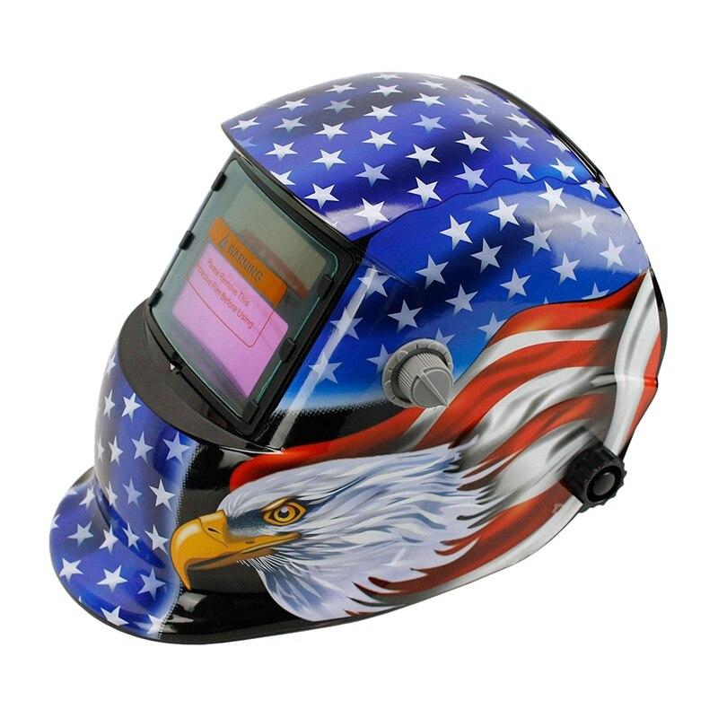 Solar Powered Welding Helmet Auto Darkening Hood with Adjustable Shade Range 4 9-13 for Mig Tig Arc Welder Mask  Blue Eagle