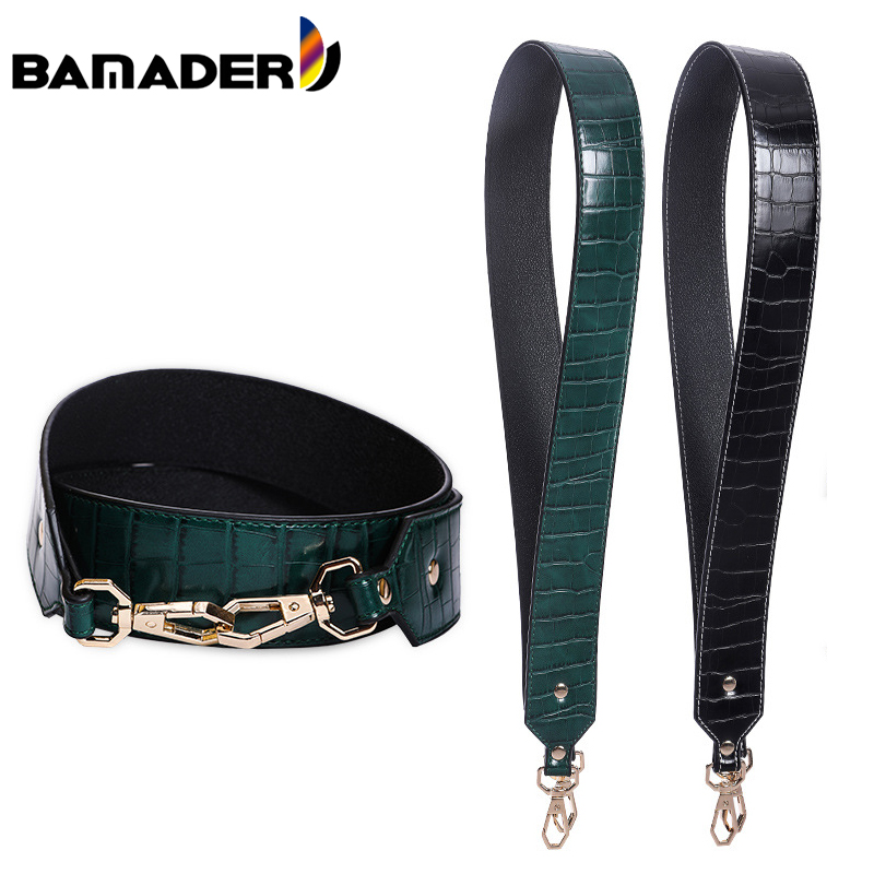 BAMADER New Crocodile Pattern Wide Shoulder Strap Comfortable Woman Genuine Leather Bag Strap Bag Part High Quality Accessories