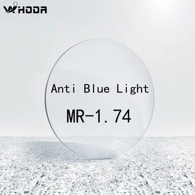 1.74 (-3.00 ~-12.00) lentilles de verres asphériques de résine de MR-1.74 de rayon bleu, lentille optique de myopie de Prescription de lumière bleue de bloc L009