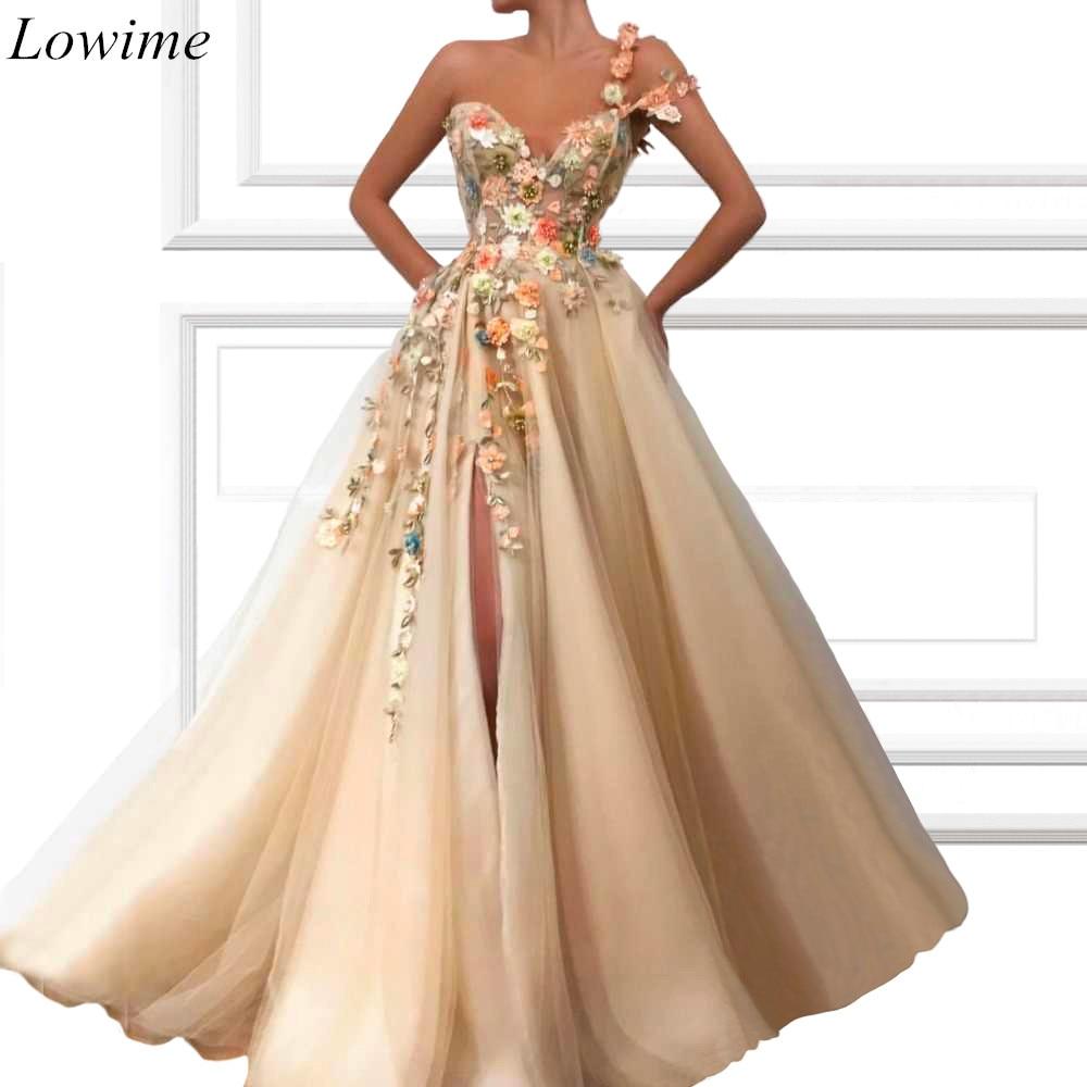 Robe de Soiree Kaftan Árabe Flores Celebrity Dresses 2020 Side Dividir Evening Prom Party Vestidos Red Carpet