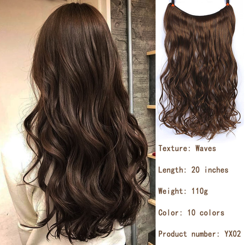 WEILAI Invisible Wire No Clips In Hair Extensions Secret Fish Line Hairpieces Silky Straight Real Natural Synthetic Headwear