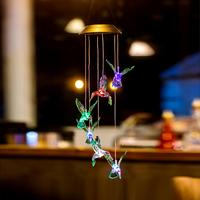 Mudança de cor led solar lâmpada hummingbirds vento carrilhão luz casa ao ar livre impermeável jardim cercas decoração lâmpada com gancho Lâmpadas solares     -