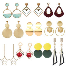 31 Trendy Style Korean Silver Color Earring Red Wood Big Geometric Alloy Hanging Dangle Drop Earrings For Women Fashion Jewelry(China)