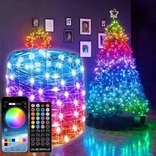 Decoração da árvore de natal led string luz bluetooth controle remoto rgb led guirlanda fada lâmpada festa de casamento decoração luz