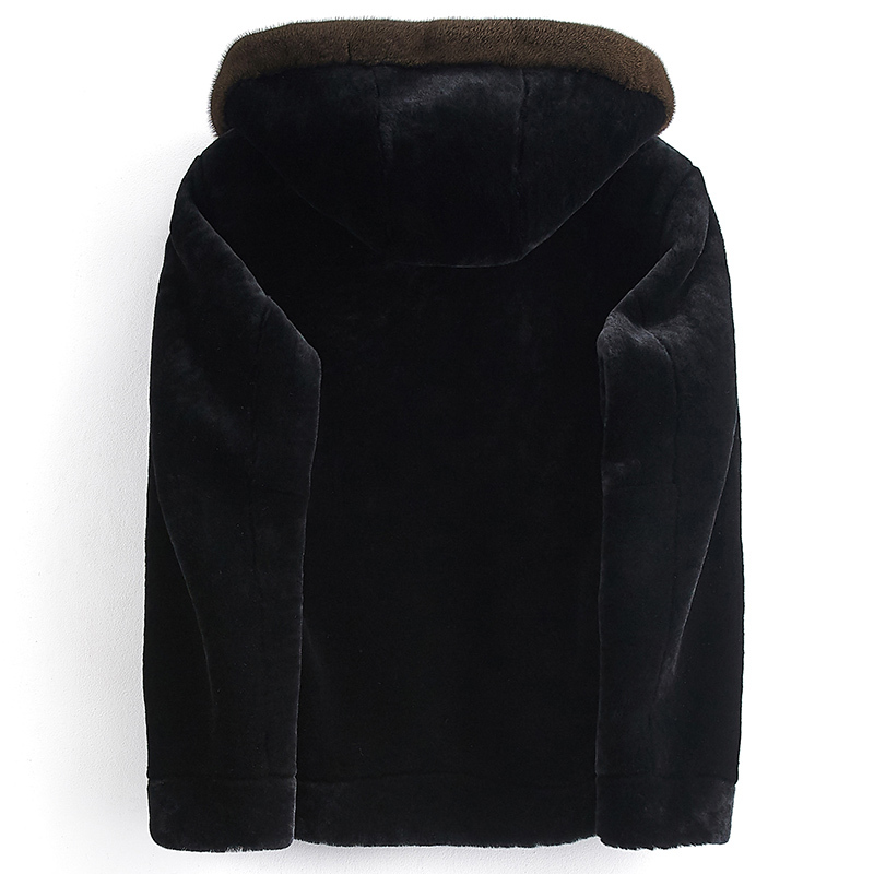 Real Fur Coat Sheep Shearling Fur Coat Autumn Winter Jacket Men Mink Fur Collar Short Chaqueta Hombre PJE1802 MY1218