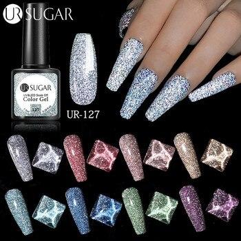 UR SUGAR Reflective Glitter Gel Nail Polish 7.5ml Sparkling Auroras Laser Nail Gel Nail Art Varnish Semi Permanent Top Base Coat 1