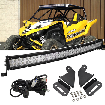 Upper Roof High Power 40 inches 240W Curved LED Light Bar Mount Brackets Kit and Wiring Harness For 2016-2018 Yamaha YXZ 1000R