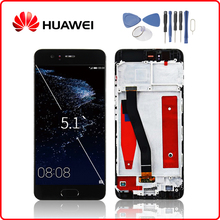 HUAWEI Orijinal P10 lcd ekran dokunmatik ekran digitizer Için Huawei P10 Ekran Çerçeve Değiştirme ile VTR L09 VTR L10 VTR L29