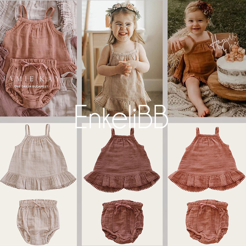EnkeliBB High Quality Toddler Girl Summer Clothes Sets Brand Design Baby Girls Sling Top And Bloomers Outfit Cotton Soft Toddler