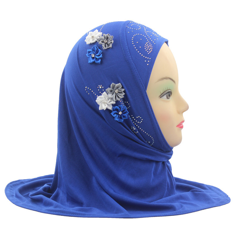 2019 Girls Kids Muslim Hijab Scarf Islamic Arab Headscarf Shawls And Wraps With Flowers About 45cm For 0 To 5 Years Old Girls