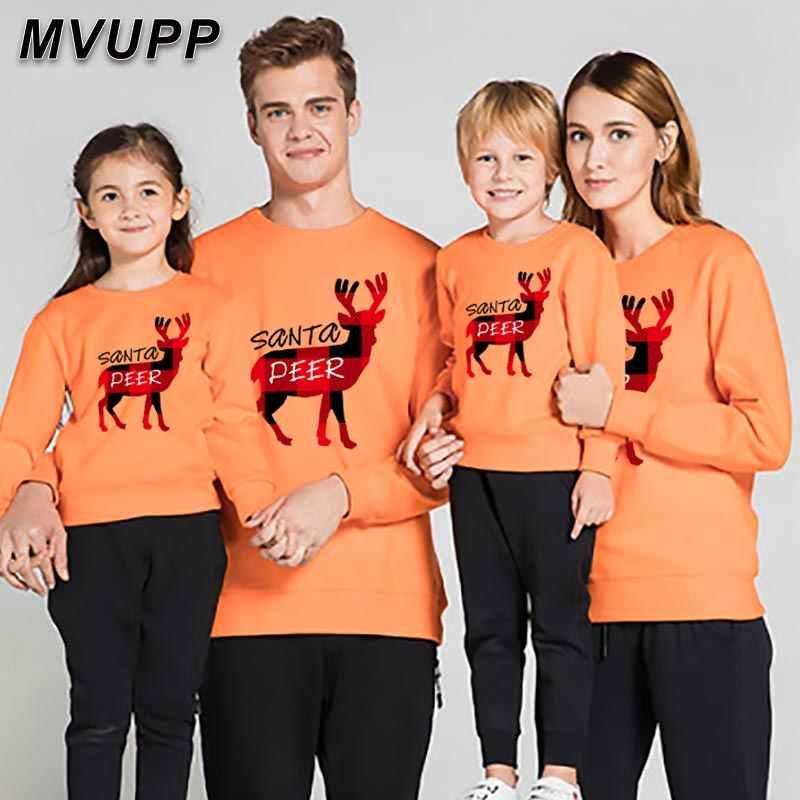 Santa Rusa Plaid Keluarga Yang Sesuai dengan Sweatshirt Natal Bahagia Ayah Ibu Bayi Gadis Anak Laki-laki Pakaian Musim Dingin Pakaian Ibu Anak-anak Mengatur O leher