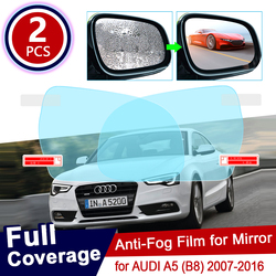 for AUDI A5 B8 2007~2016 Full Cover Anti Fog Film Rearview Mirror Rainproof Clear Anti-fog Films Car Accessories 2008 2012
