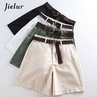 Jielur шорты женские шорты подходят ко всему 4 однотонные цветные ленты повседневные шорты для женщин а-силуэт высокая талия женские шорты Femme ...