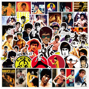 50PCS Funny Bruce Lee Kung Fu Star Stickers Laptop Phone Motorcycle Luggage Car Cool Graffiti Decal DIY Toy Waterproof Sticker