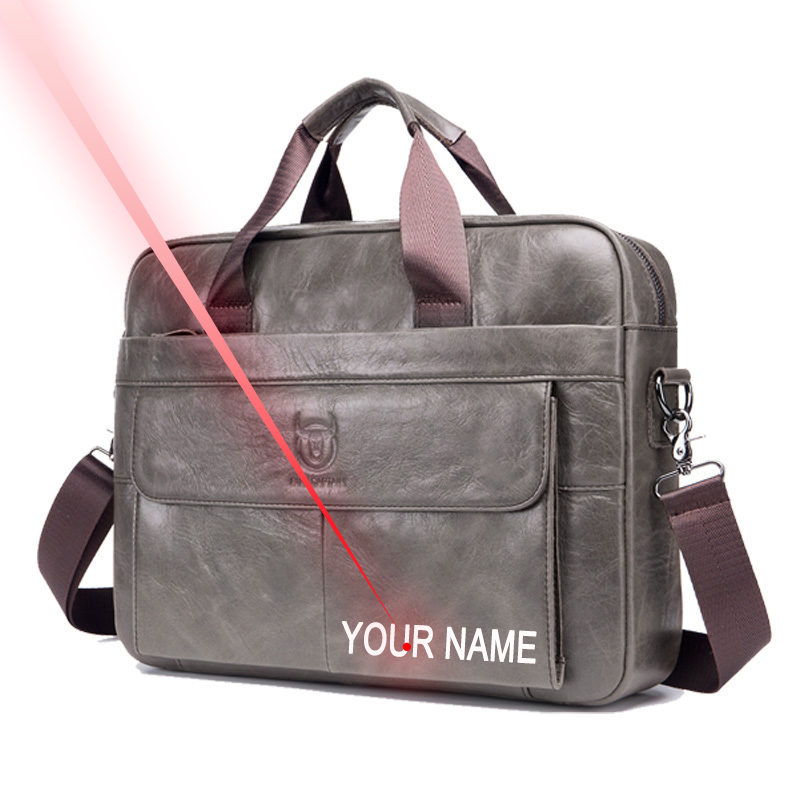 Free Engraving Your Name First Layer Cowhide Laptop Bag 14 Inch Leather Shoulder Bag Business Briefcase Handbag Bag  Work Bag