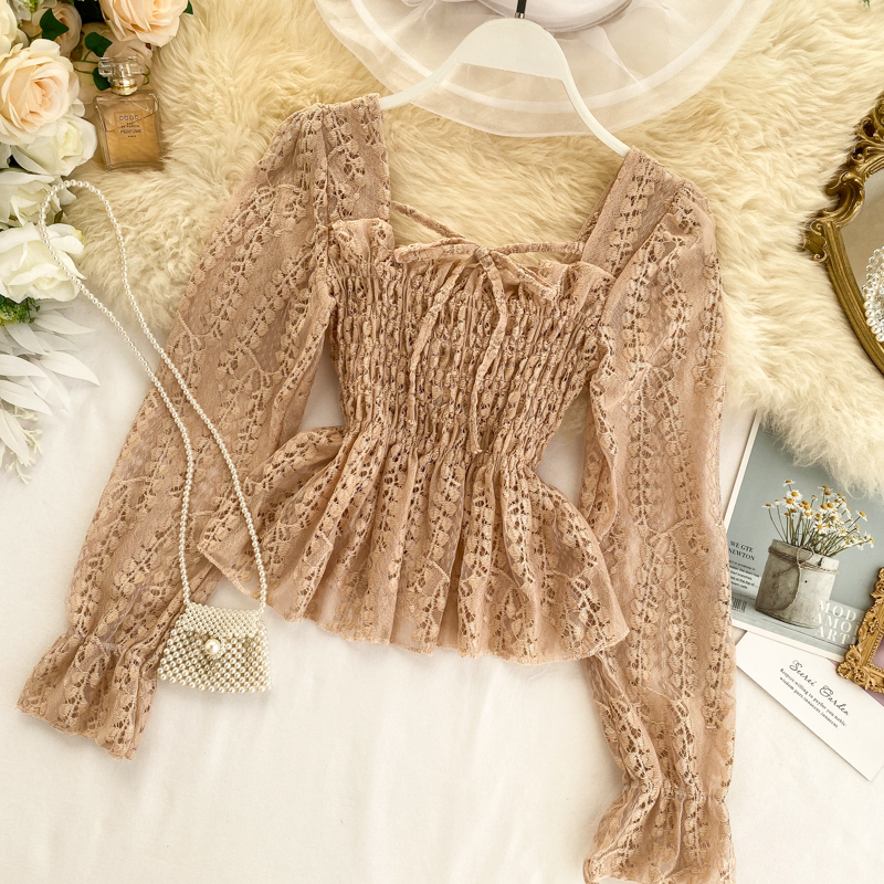 Chic Ruffled Elastic Waist Slimming Square Collar Long Sleeve Hollow Lace Blouse Woman Solid Color Elegant Shirts Tops K248
