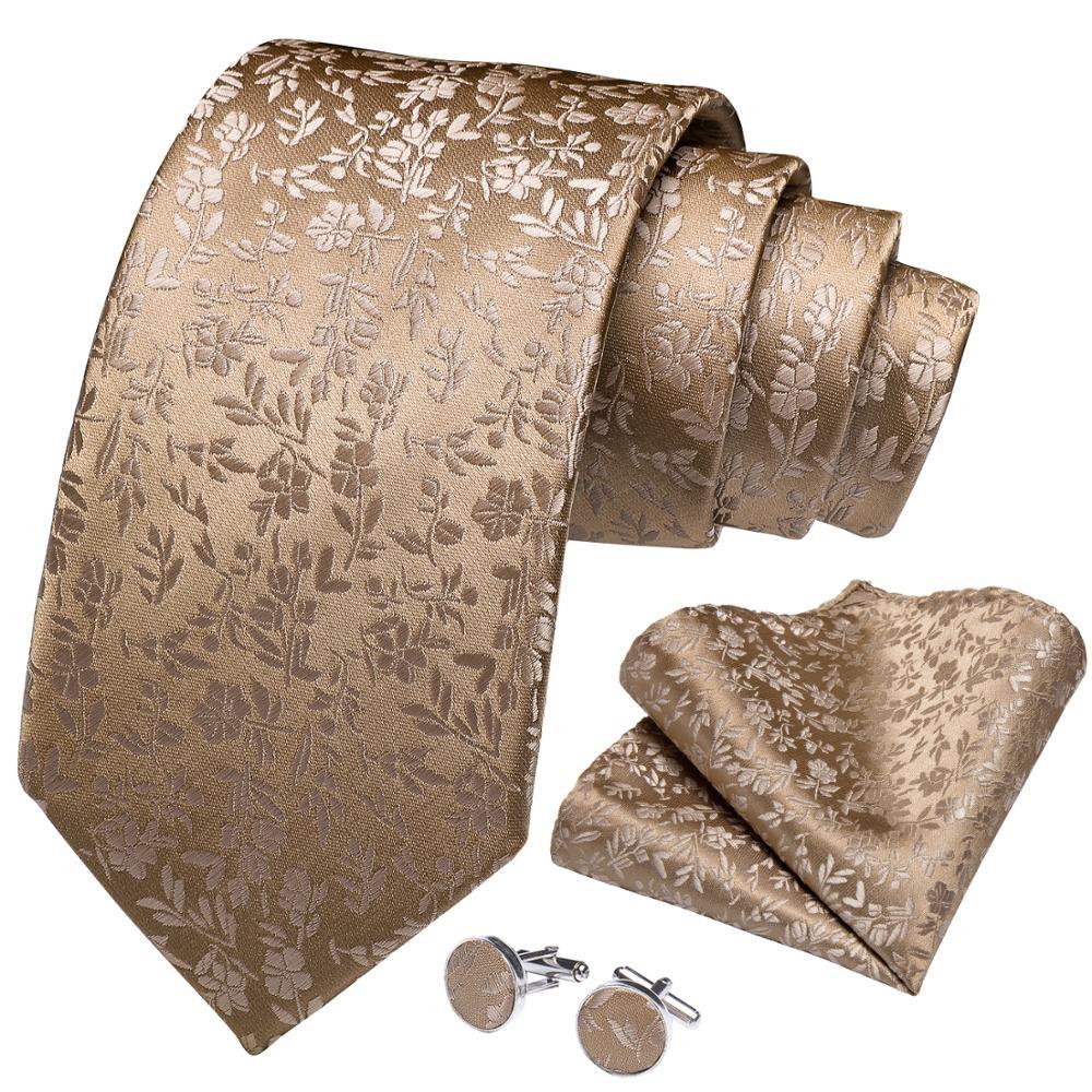 Quality Men Tie Gold Solid Floral Silk Wedding Tie For Men Hanky Cufflinks Business Gift Tie Set DiBanGu New Designer SJT-7270