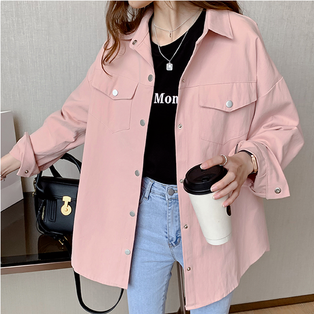 Blouses Shirts Women Spring Pockets Long Sleeve Fashion Solid Korean Style Loose Students Chic Womens Vintage Street Elegant New 4