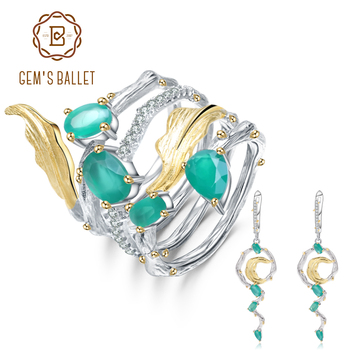 GEM'S BALLET Natural Green Agate Gemstone Earrings Ring Set Real 925 Sterling Silver Vintage Fine Jewelry For Women Party