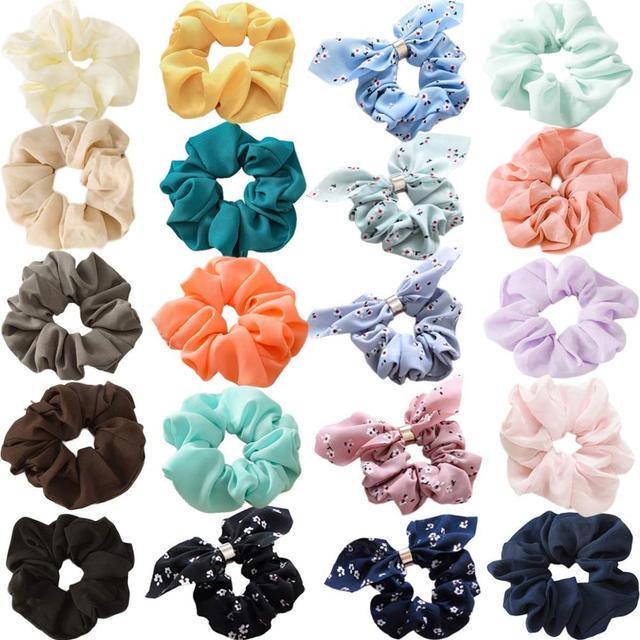 20 Pcs נשים של שיפון פרח שיער פצפוצי שיער קשת שיפון קוקו מחזיק מוצק צבעים שיפון קשרי שיער עבור בנות teen