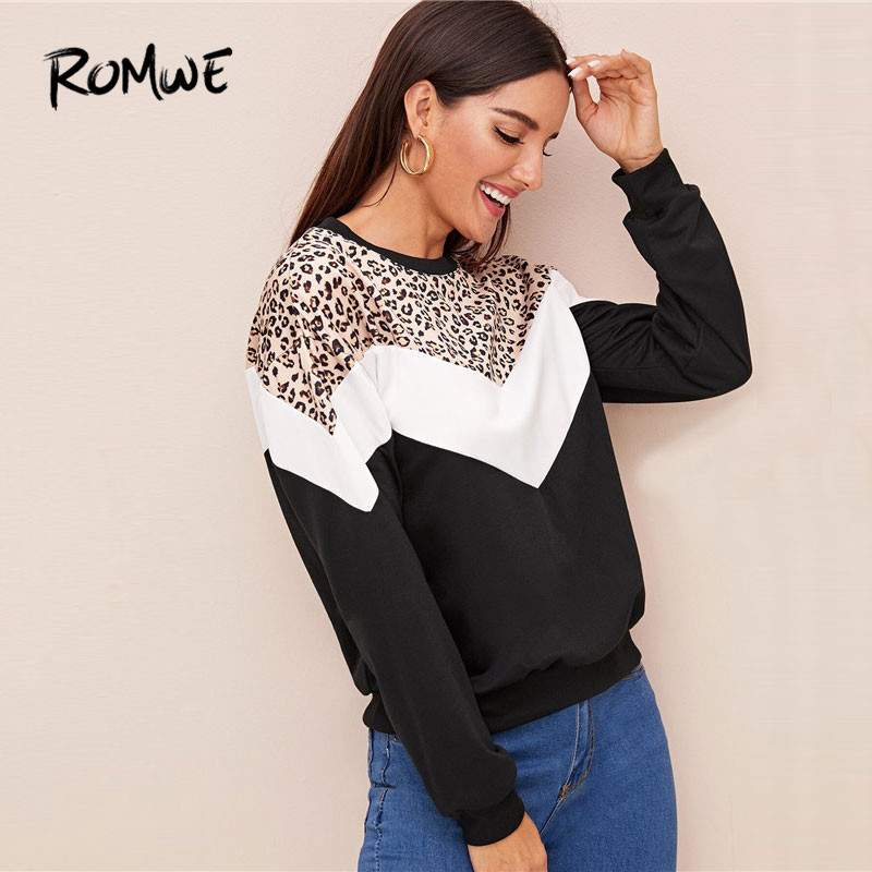 ROMWE Contrast Colorblock Leopard Print Sweatshirt Women Spring Autumn Casual Long Sleeve Clothing 2020 Round Neck Ladies Tops