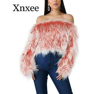 цена на Gradient Color Off Shoulder Fluffy Sweater Women Casual Furry Crop Sweater Top Sexy Faux Fur Long Sleeve Short Pullover