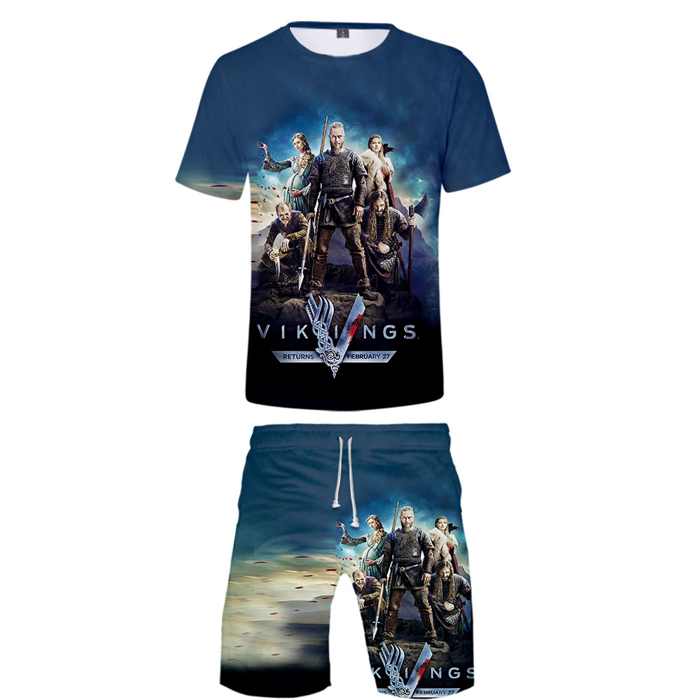 2019 Vikings Tv Series Tee Shirt Homme Two Pieces Sets Vogue 3D Print Men Summer Graphic Tees Men High Quality Free Shipping