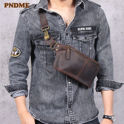 PNDME Ретро многофункциональная Натуральная кожа Мужская нагрудная сумка crazy horse воловья поясная Спортивная маленькая сумка через плечо