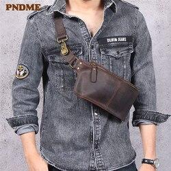 PNDME rétro multifonctionnel en cuir véritable hommes poitrine sac fou cheval peau de vache taille pack sport petit épaule sacs de messager